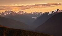 Sunset over the Olympic mountain range, Olympic National Park, Washington State