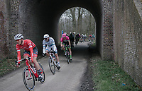 Jasper Stuyven (BEL/Trek Segafredo), Alexander Kristoff (NOR/UAE) and Sep Vanmarcke (BEL/Drapac Cannondale) trying to close the gap with the front group.<br /> <br /> 61th E3 Harelbeke 2018 (1.UWT)<br /> 1day race: Harelbeke › Harelbeke - BEL (206km)61th E3