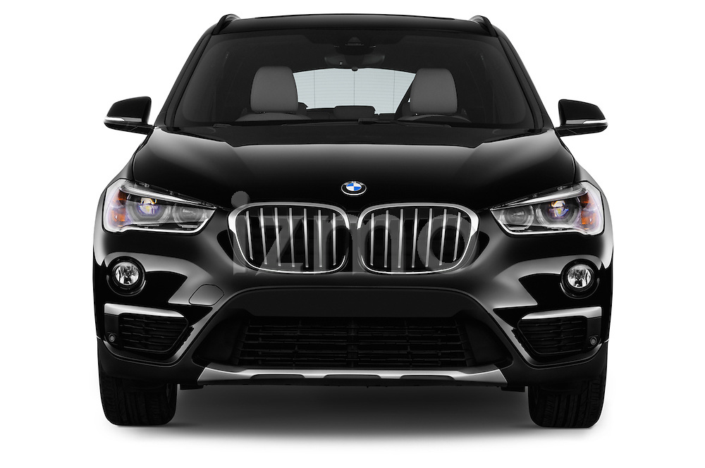 Car photography straight front view of a 2016 BMW X1 xLine 5 Door Suv Front View