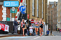 3rd October 2021; London, England: The Virgin Money 2021 London Marathon: Eloise Wellings of Australia crossing Narrow Street Swing Bridge, Limehouse Basin between mile 14 and 15.
