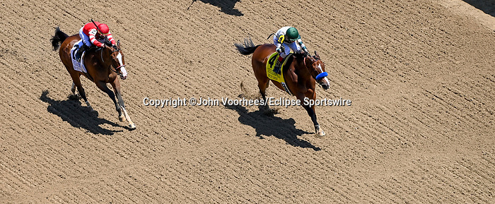 May 1, 2021 : Gamine, #4, ridden by jockey John Velazquez, wins the Derby City Distaff on Kentucky Derby Day at Churchill Downs on May 1, 2021 in Louisville, Kentucky. John Voorhees/Eclipse Sportswire/CSM