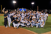The Bradenton Marauders celebrate after clinching the Low-A Southeast Championship Series with a sweep of the Tampa Tarpons on September 24, 2021 at George M. Steinbrenner Field in Tampa, Florida.  (Mike Janes/Four Seam Images)