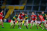 Mark Keane, Cork, in action against Gavin Crowley, Kerry and Jack Barry, Kerry during the Munster GAA Football Senior Championship Semi-Final match between Cork and Kerry at Páirc Uí Chaoimh in Cork.