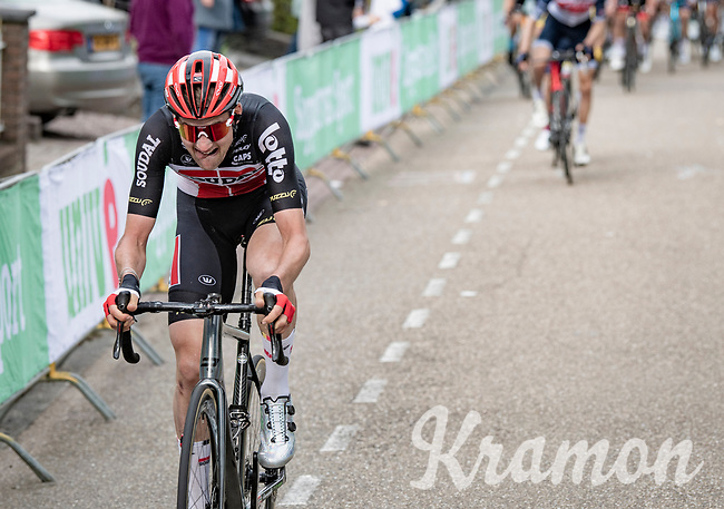 Tim Wellens (BEL/Lotto-Soudal) up the final ascent of the Geulhemmerberg<br /> <br /> 55th Amstel Gold Race 2021 (1.UWT)<br /> 1 day race from Valkenburg to Berg en Terblijt; raced on closed circuit (NED/217km)<br /> <br /> ©kramon