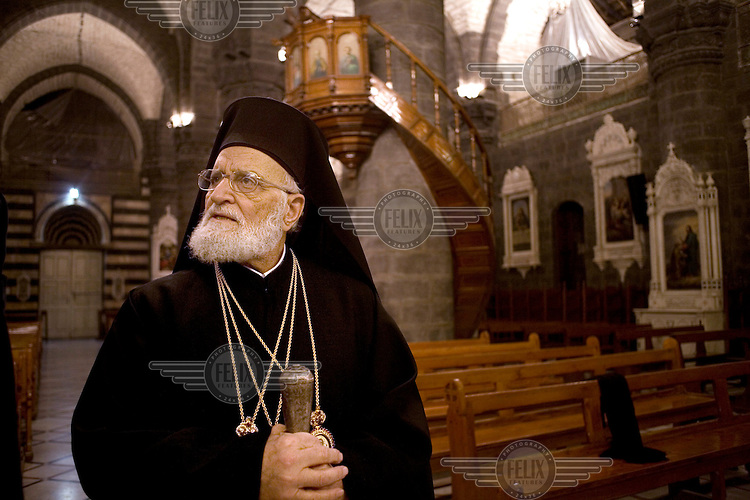 Patriarch Gregory (Gregorios) III, patriarch of the church of Antioch and leader of the Melkite Greek Catholic Church in his church in Damascus. .