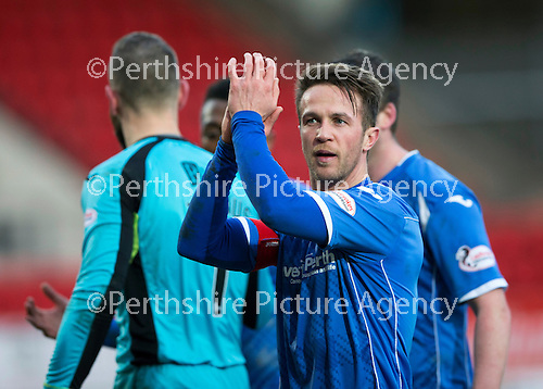 St Johnstone v Motherwell…20.02.16   SPFL   McDiarmid Park, Perth<br />Chris Millar applauds the fans at full time<br />Picture by Graeme Hart.<br />Copyright Perthshire Picture Agency<br />Tel: 01738 623350  Mobile: 07990 594431