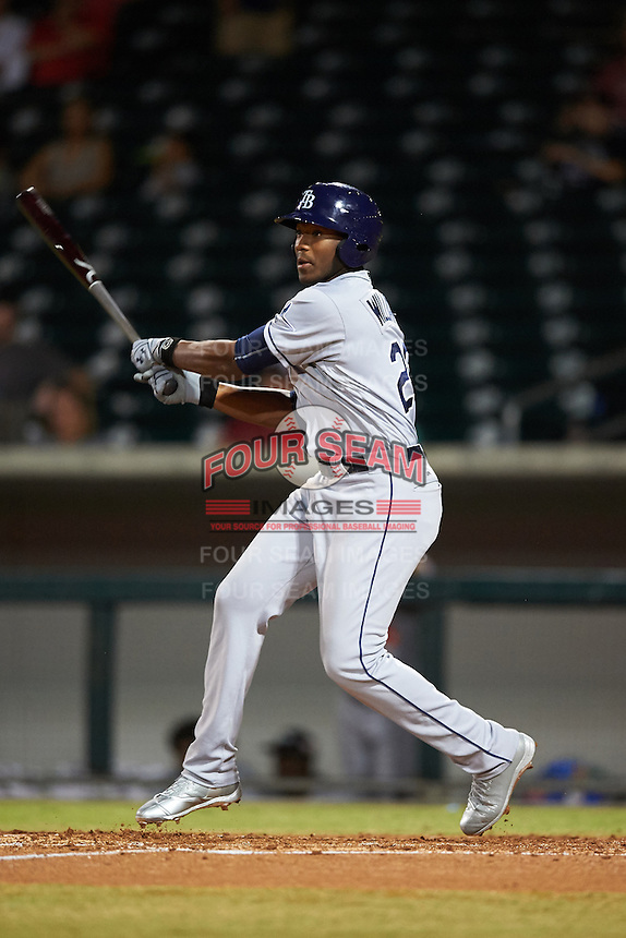 Peoria Javelinas Justin Williams (25), of the Tampa Bay Rays organization, during a game against the Mesa Solar Sox on October 15, 2016 at Sloan Park in Mesa, Arizona.  Peoria defeated Mesa 12-2.  (Mike Janes/Four Seam Images)