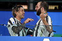 Federico Bernardeschi and Gonzalo Higuain of Juventus <br /> celebrate the victory of the italian championship at the end of the Serie A football match between Juventus FC and AS Roma at Juventus stadium in Turin (Italy), August 1st, 2020. Play resumes behind closed doors following the outbreak of the coronavirus disease. Photo Andrea Staccioli / Insidefoto
