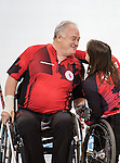 Sochi, RUSSIA - Mar 8 2014 -  Ina Forrest and Jim Armstrong celebrates their victory over Russia during round robin play in Wheelchair Curling during the 2014 Paralympic Winter Games in Sochi, Russia.  (Photo: Matthew Murnaghan/Canadian Paralympic Committee)