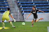 FC Gold Pride midfielder Christine Sinclair (12) lines up a shot against Red Stars  goalkeeper Jillian Loyden (1).  The FC Gold Pride defeated the Chicago Red Stars 3-2 at Toyota Park in Bridgeview, IL on August 22, 2010