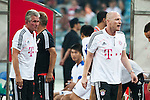 GUANGZHOU, GUANGDONG - JULY 26:  Head coach Jupp Heynckes (L) and head of sports Matthias Sammer of Bayern Munich on the bench on before a friendly match against VfL Wolfsburg as part of the Audi Football Summit 2012 on July 26, 2012 at the Guangdong Olympic Sports Center in Guangzhou, China. Photo by Victor Fraile / The Power of Sport Images