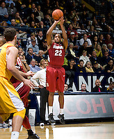 STANFORD, CA - January 29th, 2012: Jarrett Mann of Stanford shoots the ball during a basketball game against California at Haas Pavilion in Berkeley, California.   California won 69-59 against Stanford.