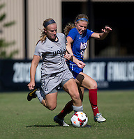 Audra Ayotte (8) of Georgetown fights for the ball with Amber Paul (10) of DePaul during the game at Shaw Field on the campus of Georgetown University in Washington, DC.  Georgetown tied DePaul, 1-1, in double overtime.
