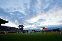 The sun sets at McCoy Stadium during the International League game between the Charlotte Knights and the Pawtucket Red Sox on June 14, 2011 in Pawtucket, Rhode Island.  The Knights defeated the Red Sox 4-2 in 11 innings.    Photo by Brian Westerholt / Four Seam Images