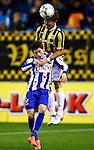 Nederland, Arnhem, 13 februari 2016<br /> Eredivisie<br /> Seizoen 2015-2016<br /> Vitesse-SC Heerenveen <br /> Arber Zeneli van SC Heerenveen en Kosuke Ota van Vitesse strijden in een duel om de bal.