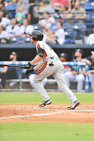 Aberdeen IronBirds Jordan Westburg (16) runs to first base during a game against the Asheville Tourists on June 19, 2021 at McCormick Field in Asheville, NC. (Tony Farlow/Four Seam Images)