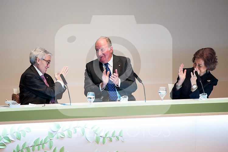 D. Francisco Luzon Lopez, King Juan Carlos  and Queen Sofia attends to the act of imposition of the great cross of the civil order of Alfonso X el Sabio to D. Francisco Luzon Lopez at Reina Sofia Museum in Madrid. March 13, 2017. (ALTERPHOTOS/Borja B.Hojas)