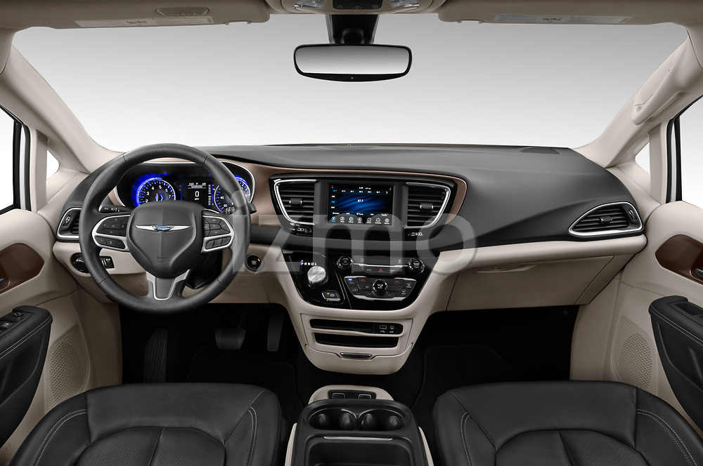 Stock photo of straight dashboard view of 2020 Chrysler Voyager LX 5 Door Minivan Dashboard