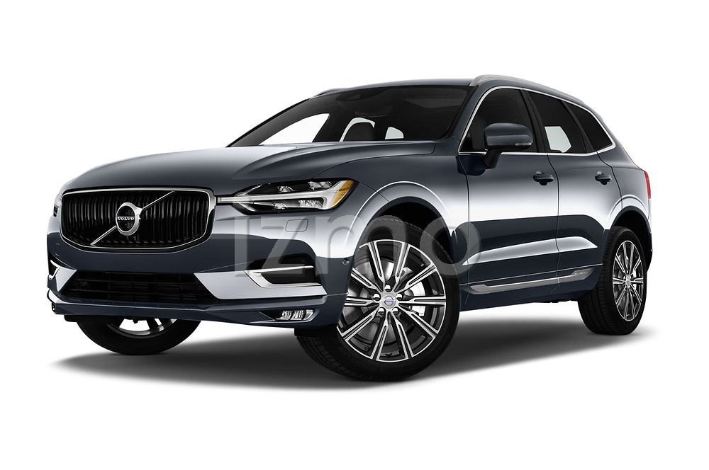 Stock pictures of low aggressive front three quarter view of 2020 Volvo XC60 Inscription-T8-eAWD-Plug-in-Hybrid 5 Door SUV Low Aggressive