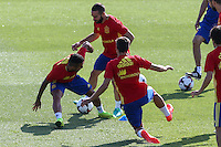 Spanish Dani Carvajal and Thiago Alcantara during the second training of the concentration of Spanish football team at Ciudad del Futbol de Las Rozas before the qualifying for the Russia world cup in 2017 August 30, 2016. (ALTERPHOTOS/Rodrigo Jimenez) /NORTEPHOTO