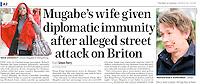 Mail on Sunday, UK,March, 2009, showing the incident where Grace Mugabe attacked photographer Richard Jones. ©sinopix