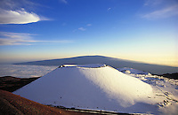 Snowcapped Mauna Kea volcano, with Mauna Loa volcano in distance, Big Island