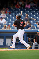 Nashville Sounds first baseman Matt Olson (21) follows through on a swing during a game against the New Orleans Baby Cakes on May 1, 2017 at First Tennessee Park in Nashville, Tennessee.  Nashville defeated New Orleans 6-4.  (Mike Janes/Four Seam Images)