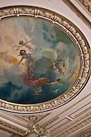 Europe/Monaco/Monte Carlo: Salle du restaurant: Louis XV / Alain Ducasse à l'Hôtel de Paris - Détail peinture du plafond [Non destiné à un usage publicitaire - Not intended for an advertising use]