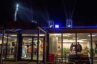 The Lights show goes on as Wycombe Wanderers new Reception / Club Shop opens for the first time during the Friendly match between Wycombe Wanderers and Leeds United at Adams Park, High Wycombe, England on 13 November 2015. Photo by Andy Rowland.
