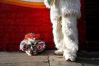 A man in a bear costume next to a mask at the Carnaval de Oruro. During the fiesta many people sacrifice llamas and give offerings such as coca leaves and cigarettes to show their dedication to the Devil, a Virgin, Pachamama or Mother Earth. The Devil (or Uncle) is a mythical character that protects the miners of Oruro who work in dangerous conditions hundreds of metres below the ground. During the carnival, people dress in outrageous costumes and dance for days before arriving at the Church of Socavon, where they pay their respects to a virgin. Ironically, many of the dancers wear devil costumes.