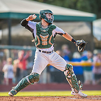 4 September 2016: Vermont Lake Monsters catcher Nick Collins in action against the Lowell Spinners at Centennial Field in Burlington, Vermont. The Lake Monsters fell to the Spinners 8-3 in NY Penn League action. Mandatory Credit: Ed Wolfstein Photo *** RAW (NEF) Image File Available ***