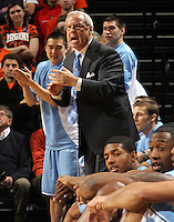 Jan. 8, 2011; Charlottesville, VA, USA;  North Carolina Tar Heels head coach Roy Williams reacts to a play during the game against the Virginia Cavaliers at the John Paul Jones Arena. Mandatory Credit: Andrew Shurtleff