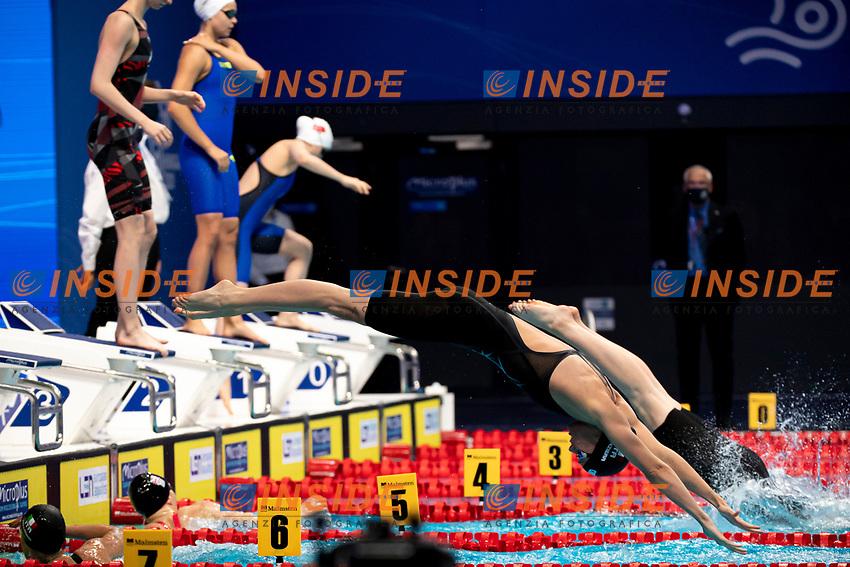 Team ITALY ITA silver medal<br /> BALLO Stefano DI COLA Stefano PELLEGRINI Federica PANZIERA Margherita<br /> Swimming - Mixed 4x200m freestyle relay final<br /> XXXV LEN European Aquatic Championships<br /> Duna Arena<br /> Budapest  - Hungary  18/5/2021<br /> Photo Giorgio Perottino / Deepbluemedia / Insidefoto
