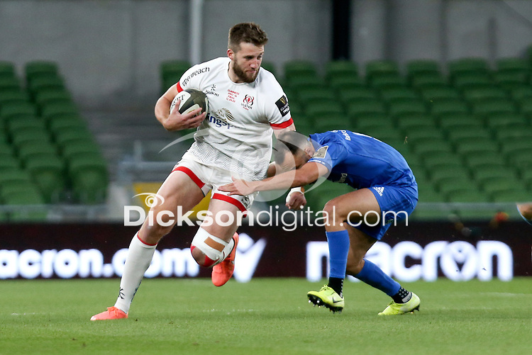 Saturday 12th September 2020 | PRO14 Final - Leinster vs Ulster<br /> <br /> Stuart McCloskey is tackled by Jamison Gibson-Park during the Guinness PRO14 Final between Leinster ands Ulster at the Aviva Stadium, Lansdowne Road, Dublin, Ireland. Photo by John Dickson / Dicksondigital