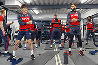 (L-R) Ki Sung-Yueng and Kyle Bartley exercise in the gym during the Swansea City Training at The Fairwood Training Ground, Swansea, Wales, UK. Thursday 11 January 2018