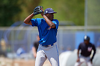 Toronto Blue Jays pitcher Carlos Ramirez (81) gets ready to deliver a pitch during a minor league Spring Training game against the New York Yankees on March 30, 2017 at the Englebert Complex in Dunedin, Florida.  (Mike Janes/Four Seam Images)
