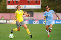Allison Falk (3) of the Philadelphia Independence is chased by Natasha Kai (6) of Sky Blue FC. Sky Blue FC defeated the Philadelphia Independence 1-0 during a Women's Professional Soccer (WPS) match at Yurcak Field in Piscataway, NJ, on August 22, 2010.