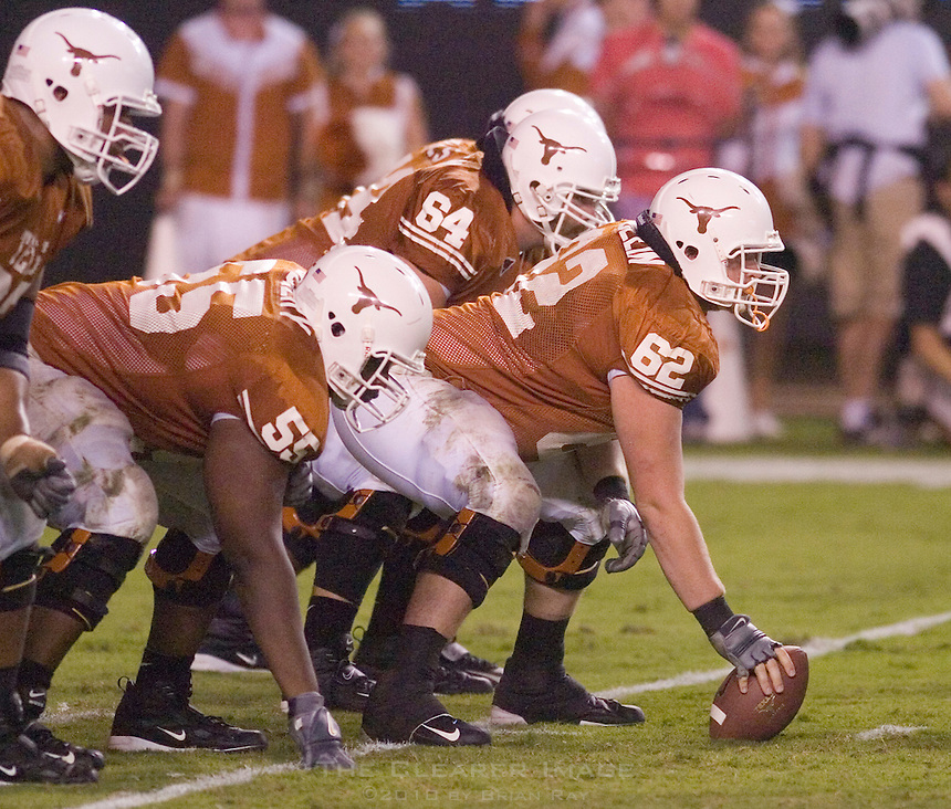 09 September 2006: The Texas offensive line, led by center Lyle Sendlein (#62) prepares to face off against Ohio State during the Longhorns 24-7 loss to the Buckeyes at Darrell K Royal Memorial Stadium in Austin, TX.