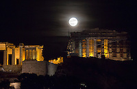 Super moon rising over the ancient monument of Acropolis in Athens, Greece. Monday 14 November 2016