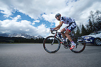 2013 Giro d'Italia.stage 11.Tarvisio - Vajont: 182km..Kenny Dehaes (BEL) up the final meters of the Sella Ciampigotto (1790m) ..