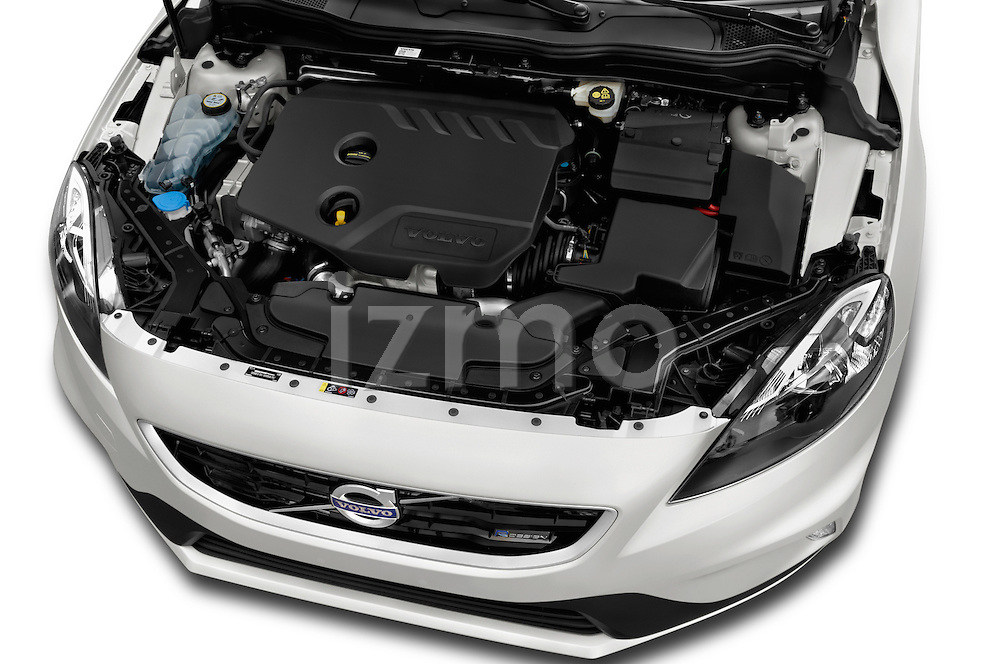 Car Stock 2015 Volvo V40 R-Design 5 Door Hatchback Engine  high angle detail view