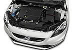 Car Stock 2015 Volvo V40 R-Design 5 Door Hatchback Engine  high angle detail view