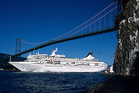 Royal Princess Cruise Ship leaving Vancouver Harbour under Lions Gate Bridge (at First Narrows), Vancouver, British Columbia, Canada, en route to Alaska