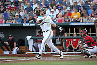 Zander Wiel #43 of the Vanderbilt Commodores bats during Game 2 of the 2014 Men's College World Series between the Vanderbilt Commodores and Louisville Cardinals at TD Ameritrade Park on June 14, 2014 in Omaha, Nebraska. (Brace Hemmelgarn/Four Seam Images)