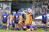 31st August 2020; Recreation Ground, Bath, Somerset, England; English Premiership Rugby, Bath versus Wasps; Wasps players celebrate winning 27-23
