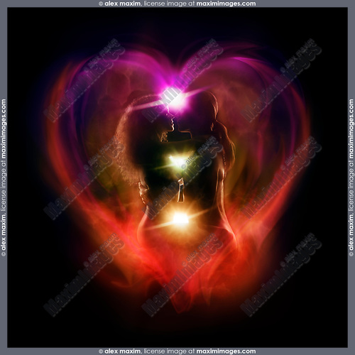 Alternative romantic couple purple silhouette card