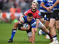 25th September 2021; The Recreation Ground, Bath, Somerset, England; Gallagher Premiership Rugby, Bath versus Newcastle Falcons; Iwan Stephens of Newcastle Falcons tackles Will Muir of Bath