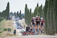 """Thomas De Gendt (BEL/Lotto Soudal) leading the peloton over the final gravel sector of the day.<br /> <br /> 104th Giro d'Italia 2021 (2.UWT)<br /> Stage 11 from Perugia to Montalcino (162km)<br /> """"the Strade Bianche stage""""<br /> <br /> ©kramon"""