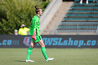 CARY, NC - SEPTEMBER 12: Bella Bixby #31 of the Portland Thorns yells to her teammates during a game between Portland Thorns FC and North Carolina Courage at Sahlen's Stadium at WakeMed Soccer Park on September 12, 2021 in Cary, North Carolina.