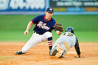 High Point-Thomasville HiToms shortstop Sam Foy #10 (Davidson) waits to put the tag on Matt Rembielak #12 (Akron) of the Wilson Tobs as he tries to steal second base at Finch Field on June 17, 2013 in Thomasville, North Carolina.  The Tobs defeated the HiToms 3-2 in 11 innings.  Brian Westerholt/Four Seam Images